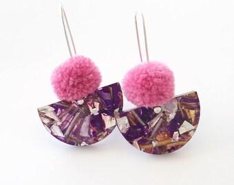 Pom Scallop Drop - Dusty Pink Pom Pom & Drift Glitter - Laser Cut Acrylic Drop Earring - Each To Own