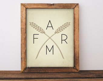 Farm print - Rustic Farmhouse printable - farm wall art - farmhouse wall art- farm wall art printable- instant download wheat farm printable