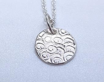 Tiny Silver Disk Necklace with Swirls - Swirls Necklace - Spiral  - Silver necklace - Sterling Silver Pendent - 925 - Minimalist - Boho chic