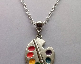 Silver Artist Palette Necklace , Artist Necklace , Enamel Necklace , Multicolour Necklace , Artist Gift , Painter Necklace , Handmade Gift