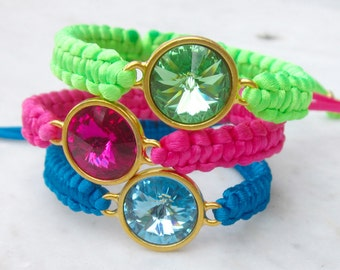 Swarovski crystal bracelet, crystal macrame friendship bracelet, modern rhinestone stacking bracelet, summer colors hot pink blue lime green
