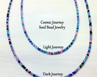 Seed Bead Necklace Pink Purple Blue Cosmic Journey Mix Long Layered Wrap Beaded Boho Hippie Bracelet Anklet Summer Jewelry by LoveThemBeads