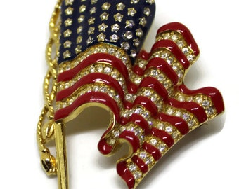 Gorgeous Signed Trifari Enamel and Rhinestone Large Flag Brooch/Pin Vintage 1990 Flag Jewelry Patriotic Jewelry Americana Desert Storm