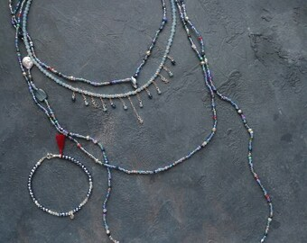 Bracelet amethyst, apatite, baroque pearl, seed beads, blue stone, sea, pyrite, blue, blue kyanite, chalcedony