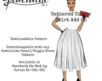 1950s Fit and Flare Skirt, Rockabilly Skirt Pattern, Plus Size Vintage Pattern Ad On, Gathered Skirt Attachment Pattern, Vintage Inspired