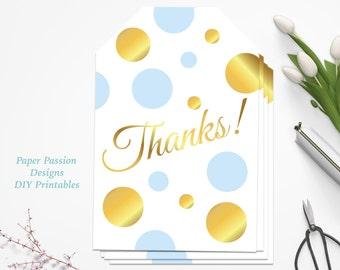Gold and Blue Favor Tag ~ Baby Shower Thanks Favor Label ~ Polka Dot Baby Boy Shower ~ BGld20