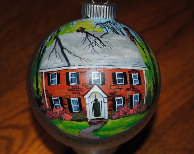 Excellent Housewarming gift Hand Painted Ornament of New Home, done from picture.   sold