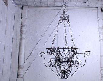 Garden chandelier etsy large wrought iron basket candle candle chandelier outdoor or indoor ships free aloadofball Gallery