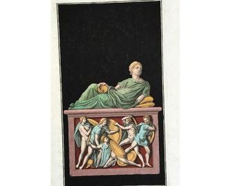 1722 STATUE SCULPTURE ENGRAVING original antique architecture print - reclining nude 3