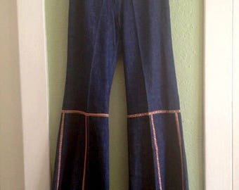 "1970's bell bottoms - French Dressing Co - vintage - bell bottom jeans - 29.5"" waist - hippie - French vintage - rare denim - troppobella"
