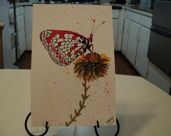 """Painting Original 6"""" X 9"""" Water Color Butterfly & Flower"""