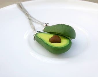 BFF necklace for 2 Green Avocado Charm Friendship necklace Best Friend gift Avocado necklace Miniature Food BFF present Healthy Food jewelry