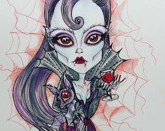 Original Art One Of A Kind Drawlloween Vampire and Her Bat Leslie Mehl Art