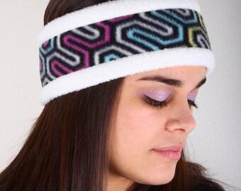 Fleece Headband, Ear Warmer, Winter Headwear, Winter Hat, Winter Headband, Fleece Ear Warmer, Neon Colored Geometric Design, Fleece Ear Muff