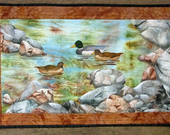 Hand painted fabric art quilt, wall hanging, textile art  - Rocky shoreline - fiber art