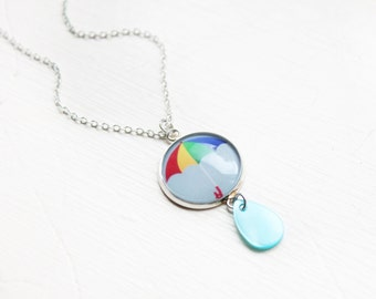 Rainbow Umbrella Raindrop necklace - Storm Glass dome rain drop rainy day pendant