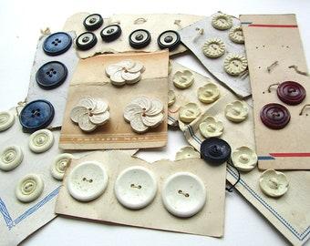 Vintage Carded Buttons Cream Blue Red Floral Destash Lot