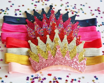 Birthday Baby Girl Glitter Crown Headband Sparkle Soft Party Outfit Photo