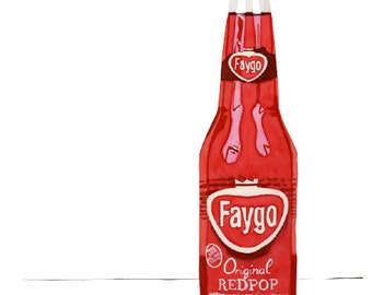 Vintage Faygo Red Pop Watercolor Print