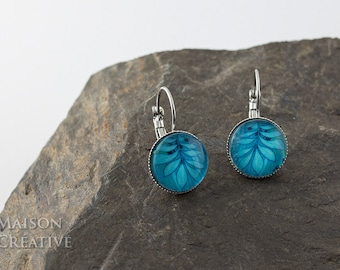 Earrings Silver Blue Turquoise leaves