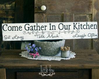 Gather Sign, Farmhouse Decor, Come Gather In Our Kitchen, Kitchen Sign, Kitchen Decor, White Sign, Farmhouse Decor, Restaurant Sign