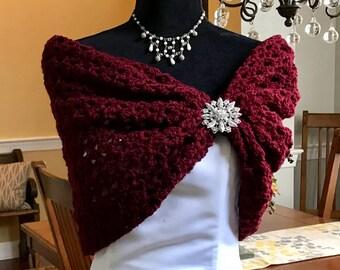 Burgundy wedding shawl/bridal Cape/bridal shawl/wedding shrug/Prom shawl/rustic wedding/bridal cover-up/shrug/Winter/fall wedding