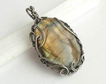 "Silver Labradorite Pendant, Labradorite Necklace, ""Faerie Wood"", Wire Wrapped Pendant, Swirls, Labradorite Jewelry, Gifts for Women"