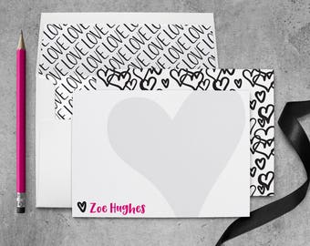 Heart Note Cards Personalized Stationary Cards Love Heart Thank you Cards for Her, Anniversary Stationary Personalized Gifts for Women