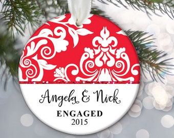 Engaged Christmas Ornament Engagement Christmas Gift Personalized Christmas Ornament Just Engaged Ornament Name & Date Red Damask  OR177