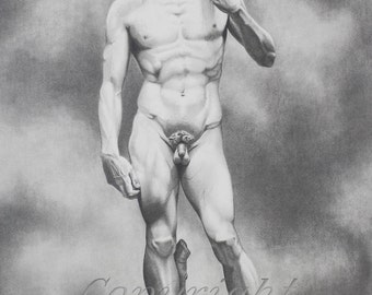 Giclee print of original pencil drawing of Michelangelo's David, famous statues, Michelangelo, Statue of David, realistic pencil drawings