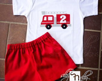 SET // 12m, 18m, 2t, 3t, 4, 5 Firetruck elastic shorts and shirt SET with birthday number by Silly Nilly Designs