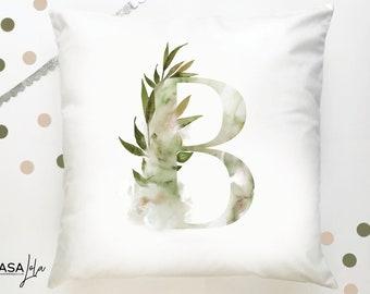 Decorative Personalised Cushion, B Initial Cushion, Personalised Pillow, Personalised Pillow, Home Decor, Nursery Decor, Square Pillow