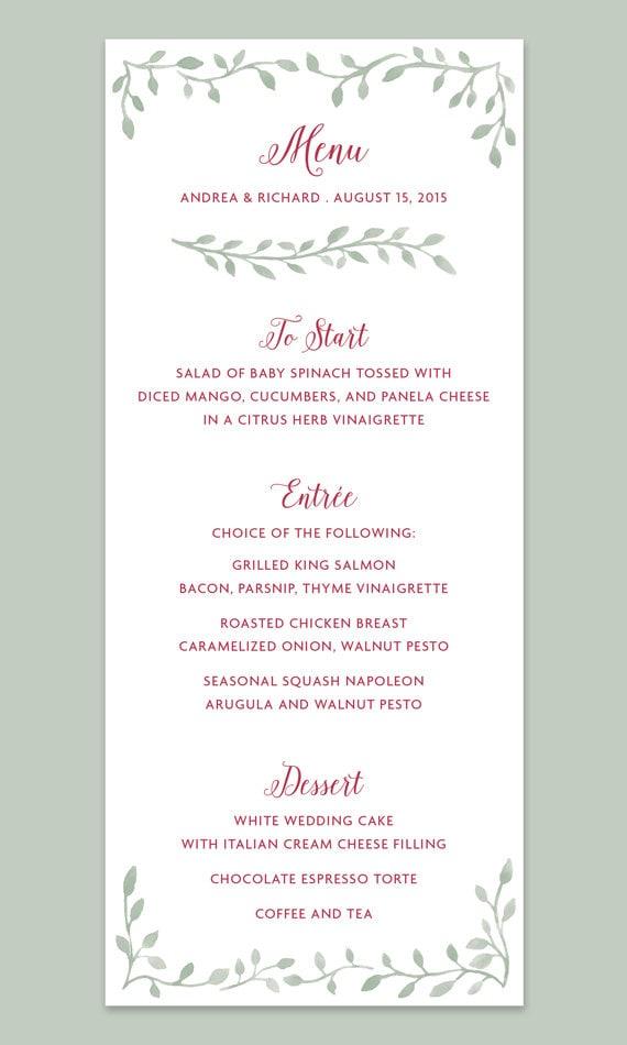 Watercolor Leaf Border Wedding Menu Card Leaves