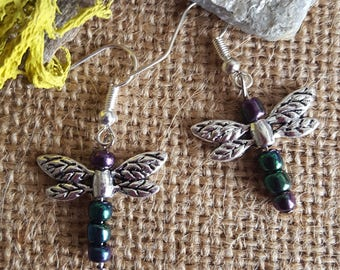 Silver Dragonfly Earrings with Iridescent Glass Beads