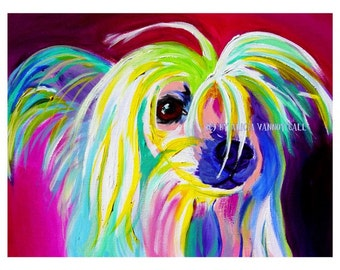 Chinese Crested, Pet Portrait, DawgArt, Dog Art, Pet Portrait Artist, Colorful Pet Portrait, Chinese Crested Art, Crestie, Art Prints