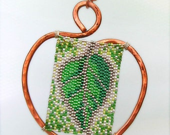 Leaf pendant -- copper and seed beads
