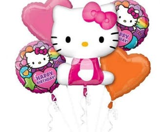 Hello Kitty 5 pc Balloon bouquet, Hello Kitty birthday decoration, Hello Kitty balloons