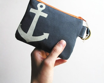 Anchor Screenprint Mini Zipper Pouch Recycled Fabric Keyring ID Giftcard Holder Wallet
