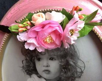 Flower hair band Flower crown Hair band with flowers Crown of hair Pink hair band flower Flower wreath hair band Hair pink crown Baby Gift