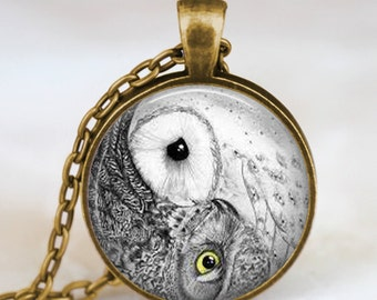 Owl yin yang necklace , yin yang pendant , chinese yin yang jewelry , unique gift, zen necklace, glass dome necklace, art pendant