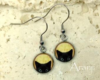 Glass dome black kitten earrings, black cat earrings, black cat jewelry, black cat drop earrings, cat earrings, AN116DP