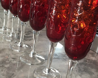 """Embossed Red """"Pidgeon Blood"""" like, Bell Shaped Champagne Flutes, Set of Six"""