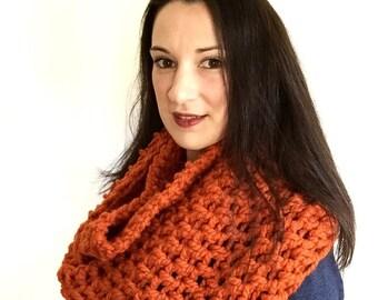 orange hand crochet scarf, crochet infinity scarf, chunky oversized scarf, orange scarf, chunky crochet cowl, oversized infinity scarf