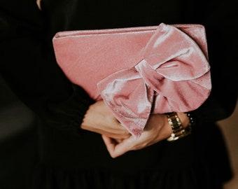 Pink velvet clutch bag   Bridal clutch   Bridesmaid clutch   Velvet purse   Velvet handbag   Women gift   Boho chic clutch   Gift for her