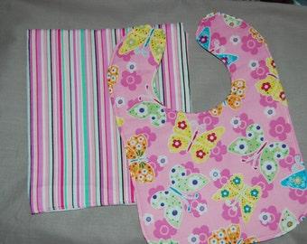 Reversible Butterfly Stipe bib and burp cloth set