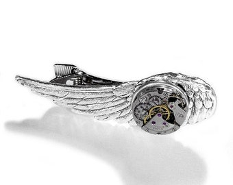 Steampunk Tie Bar Vintage Men's Tie Clip Accessory Silver Wings Antique Watch Mechanism SEXY, COOL Holiday Mens Gift - Jewelry by edmdesigns