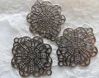 """Vintage silver plate brass stamped filigrees,1&1/2"""",3pcs-FLG06"""