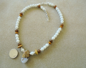 Pendant Necklace - Handmade - Polka Dot Agate, Glass, Coffe Agate, Lampwork Glass, Sterling Silver