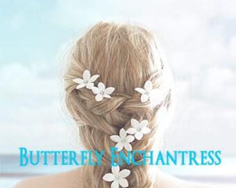 Wedding Hair Accessories, Bridal Hair Pins, Hair Flowers - 6 Rhinestone Creamy White Stephanotis Hairpins