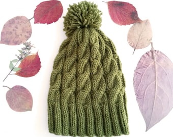 SALE Women's cable knit beanie with pom pom - Knit beanie Green beanie Womens winter hat Gift for her Pom pom beanie Cable knit hat